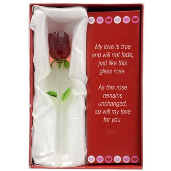 Forever Glass Rose with Poem ~ Valentines Day or Special Occasion ~ Say I Love You with this Handmade Glass Roses with Love Poems 5″ Boxed