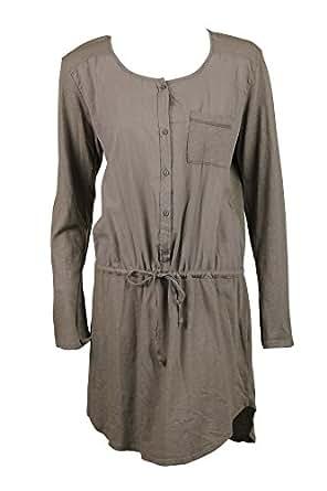 Michael Stars Womens Cobblestone Slub Jersey Voile LS Shirt Dress L 6269