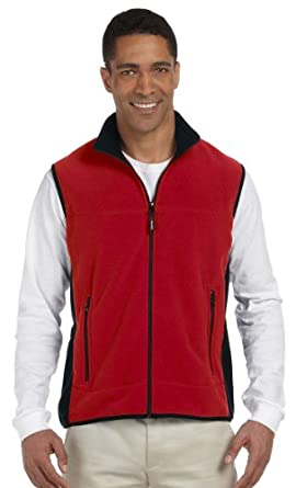 Chestnut Hill CH960 Polartec Colorblock Full-Zip Vest - Cherry/Black - XS