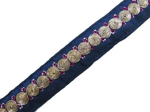 1 Y Thin Navy Blue Gold Thread Cord Ribbon Trim Sewing Lace India