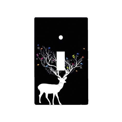 Deer Antler Birds - Decor Single Switch Plate Cover Metal