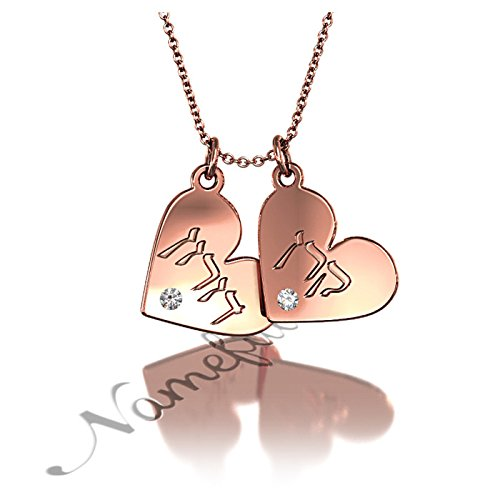 """Hebrew Couple Name Necklace With Hearts And Diamonds In Rose Gold Plated Silver - """"Keren Loves Doron"""" - 18"""" Chain front-226500"""