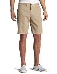 Nautica Men\'s Twill Flat Front Short,True Khaki,32