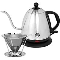 BoldDrop 1 Liter Electric Gooseneck Kettle (1L/34oz) with Stainless Steel Pour Over Coffee Filter (Brews 4 Cups)