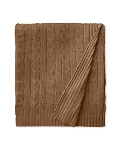 a & R Cashmere Wool & Cashmere Cable Knit Throw, Camel