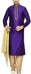 Indian Poshakh Men's Silk Sherwani (1194_44, 44, Purple and Beige)