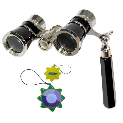 Hqrp Opera Glasses In Elegant Black Color With Silver Trim W/ Built-In Extendable Handle Plus Hqrp Uv Meter