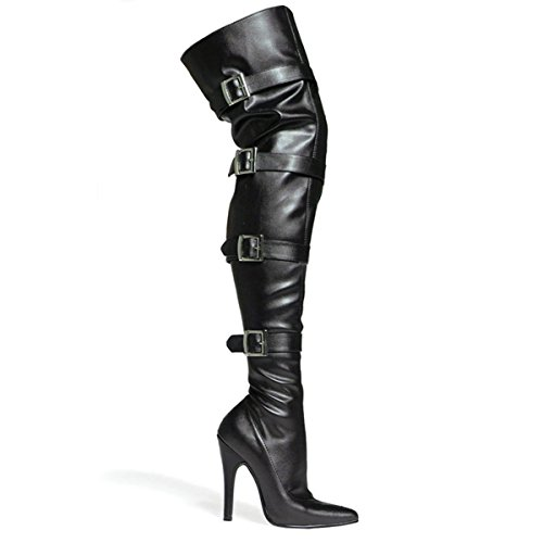 5 Inch Sexy High Heel Boot Thigh High Boot With Buckles And Inner Zipper Stretch Size: 8 Colors: BlackPU