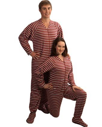 pajamacity red and white striped footie pajamas with drop seat for teens and adults size 4 54 to 55
