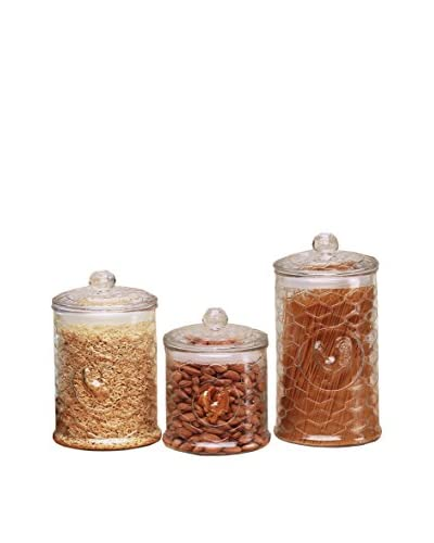 Circleware Set of 3 Rooster Canisters, Clear