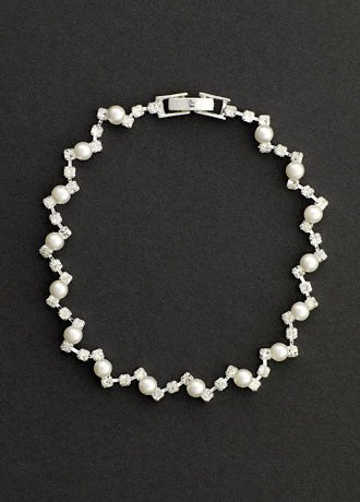David's Bridal Pearl and Crystal Zig Zag Bracelet Style S-1878, Silver
