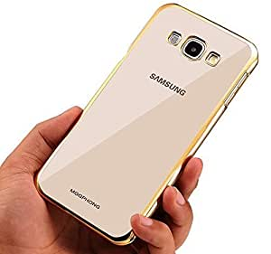 TECHNO TRENDZ (TM) New Luxury Perfect Fitting Electroplated Edge Gold Frame Border Bumper Plating High Quality Original TPU Soft Ultra Thin Transparent Silicone Crystal Clear TPU Flexible Back Case Cover Corner Protection for Samsung Galaxy Core Prime SM-G360 (Golden Edges)