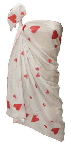 La Leela White Designer Sweet-heart Chain Stitched Embroidered Beach Swim Sarong Pareo Valentine's Day Gift