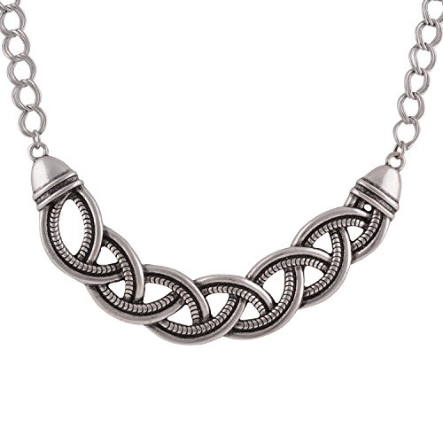 November's Chopin Carved Figaro Chain Vintage Style Statement Necklace (Silver)