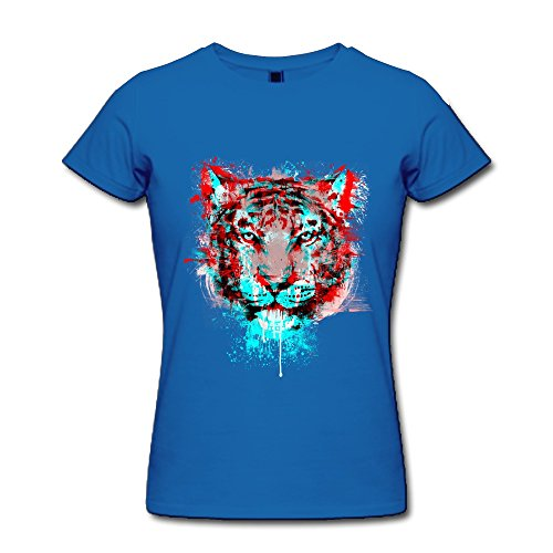 Ptcy Women'S Tshirts Blue Red Tiger Us Size Xl Royal Blue front-514417