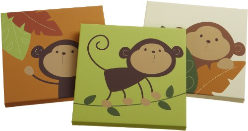 Carter's Monkey Bars 3 Piece Canvas Wall Art, Chocolate, 12 X 12