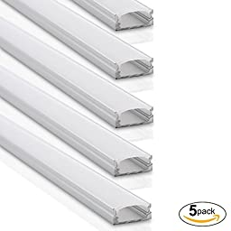 LEDdrop Aluminum Channel System with White Diffuser Covers, End Caps, and Variety Pack of Mounting Clips, for LED Flex/Hard Strip Light Installations, Pack of 5x 1m Segments, U-Shaped, U-12