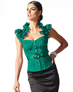 bebe.com : Flutter Sleeve Ruffle Collar Belted Top