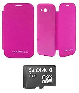 TBZ Premium Flip Cover Case -Magenta for Samsung Galaxy Grand Neo with 8GB microSD