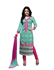 Suchi Fashion Turquoise & Pink Embroidered Cotton Semi Stitched Salwar Suit