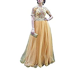 Destiny Enterprise Unstitched Silk Net Yellow Color Embroideried Party Wear Gown Material for Women
