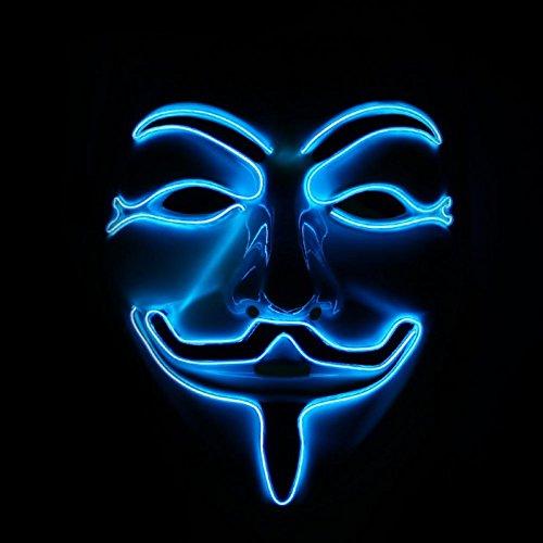 Emazing Lights Light Up Guy Fawkes Rave Mask (Blue)