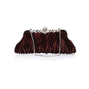 Crystals kiss lock satin pleated evening wedding prom bridal clutch lady handbag purple white silver red beige (purple)