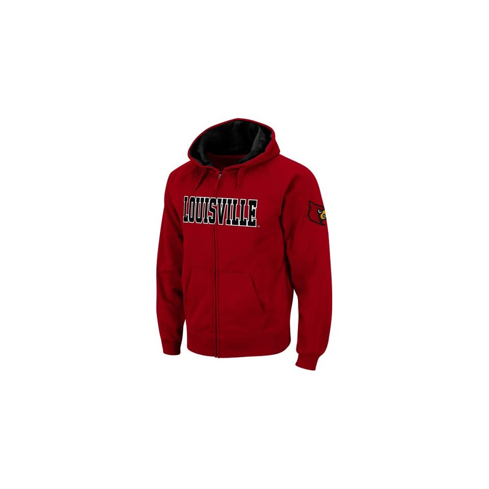 Louisville Cardinals Red Classic Twill II Full Zip Hoodie Sweatshirt (Large)