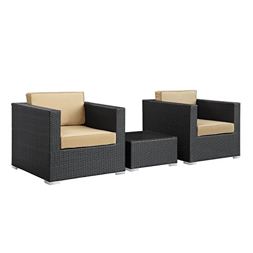 LexMod Burrow 3-Piece Espresso Patio Sectional Set with Mocha Cushions
