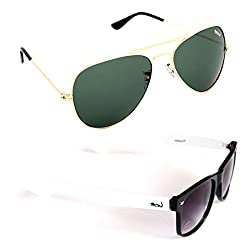 Elligator Stylish Aviator Gold Green And White Wayfarer Sunglasses Combo ( Set of 2 )