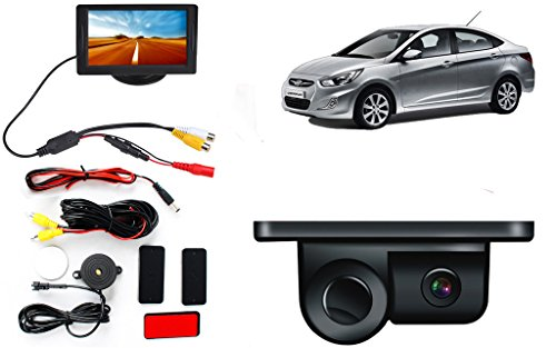 2 in 1 LCD Display Indicator Sound Alarm Car Reverse Parking Sensor camera with CCD LED Night Vision – Hyundai Verna