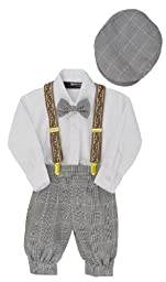 G284 Boys Vintage Knickers Outfit Suspenders (Medium/6-12 Months, Black/White)