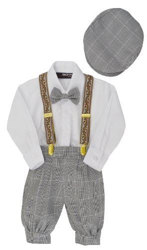 G284 Gino Giovanni Baby Boys Vintage Knickers Outfit Suspenders Set (2T/2, Black/White) front-757861