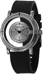 Stuhrling Original Men's 879.03 Leisure Sniper Transparent Swiss Quartz Black Rubber Strap Gunmetal Watch