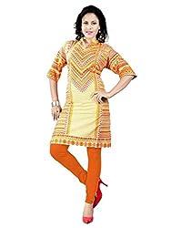 1 Stop Fashion Fancy Yellow::Orange Color Cotton Party wear Designer Kurti-BESFK112607-XXL