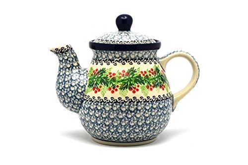 Polish Pottery Gooseneck Teapot - 20 oz. - Holly Berry (20 Oz Gooseneck Teapot compare prices)
