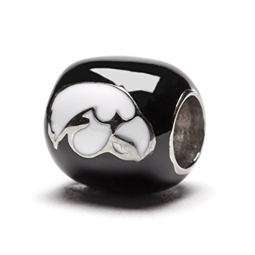 University of Iowa Hawkeyes 2-sided Black with White Round Logo Bead Charm
