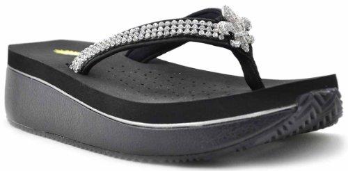 Volatile Women'S Gumbo Wedge Sandal,Black,7B Us front-952718