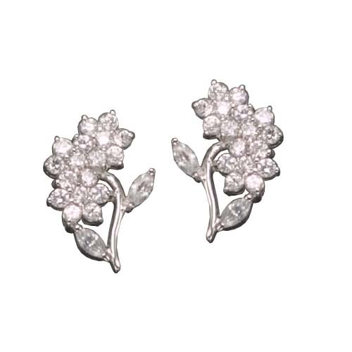 Portia's 925 Sterling Silver Stud Earrings Round Cubic Zirconia Flower & Marquise CZ Leaf Accent - Incl. ClassicDiamondHouse Free Gift Box & Cleaning Cloth