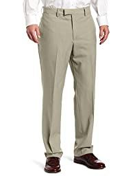 Louis Raphael Men\'s Luxe 100 Percent Wool Solid-Colored Modern-Fit Flat-Front Dress Pant, Sand, 40x34
