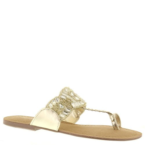 Kenneth Cole Reaction Women'S Jaded Coin 2 Toe Ring Sandal,Gold,7 M Us front-917264