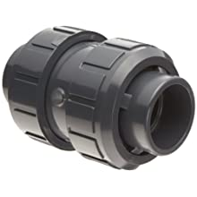 Asahi America True Union PVC Check Valve, EPDM Seat, Socket Weld &amp; NPT Female Convertible