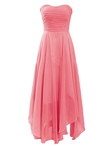 Medon'S Sweetheart Elegant Zipper Chiffon Tea-Length Prom Dress (Us12, Coral)