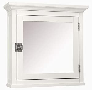 Classic White Wood Bathroom Medicine Cabinet Glass Mirror Adjustable Shelf