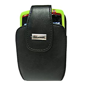 Blackberry OEM Black Leather Vertical Holster HDW-13789-001 and Green Silicone Skin Cover Case HDW-13840-006 for Blackberry Curve 8300 8310 8320 8330