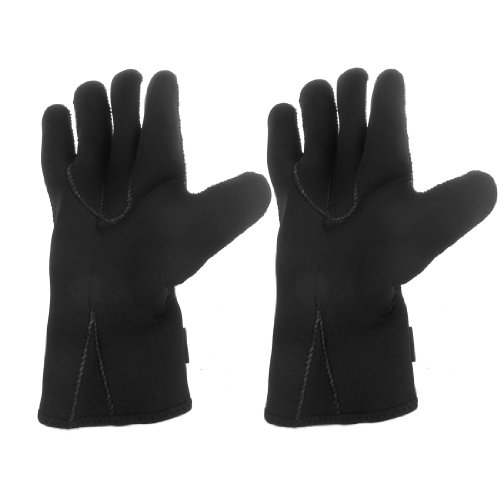 2 Pcs Dots Black Nonslip 4mm Neoprene Diving Swimming Gloves