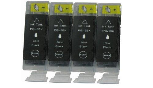 4 Canon PGI-5bk.*.*.*SCHWARZ.*.*.* Kompatibel Tinte für Canon Pixma iP6700D. ***Hohe Kapazität*.*.Dye-Tinte aus DEUTSCHLAND.*.*.neueste Version APEX-Chips.*.*.