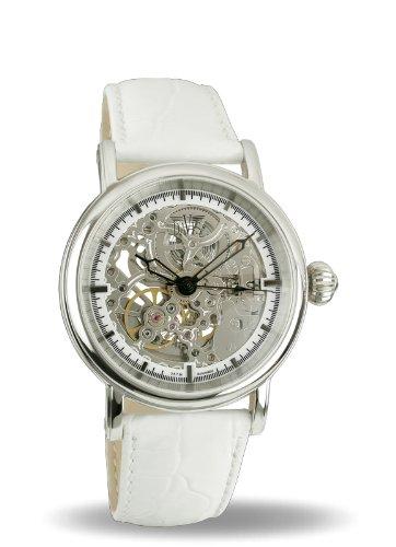 Davis - 1531 - Skeleton Mechanisch Damenuhr mit sichtbarem Automatik Uhrwerk - Lederarmband Weiß