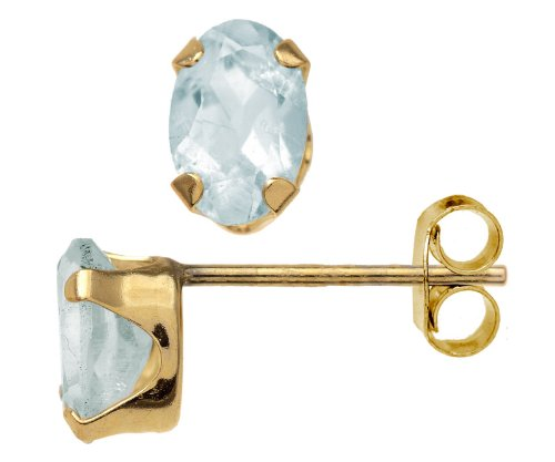 Beautiful 9 ct Gold Ladies Stud Earrings with Aquamarine 1.30 Carat - 6mm*4mm