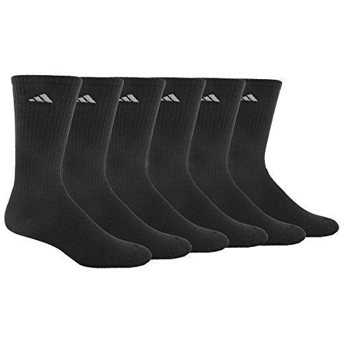 Adidas Men's Athletic Crew Sock, Black/Aluminum 2, Pack of 6, Fits Shoe Size 6-12 (Adidas Under 35 compare prices)